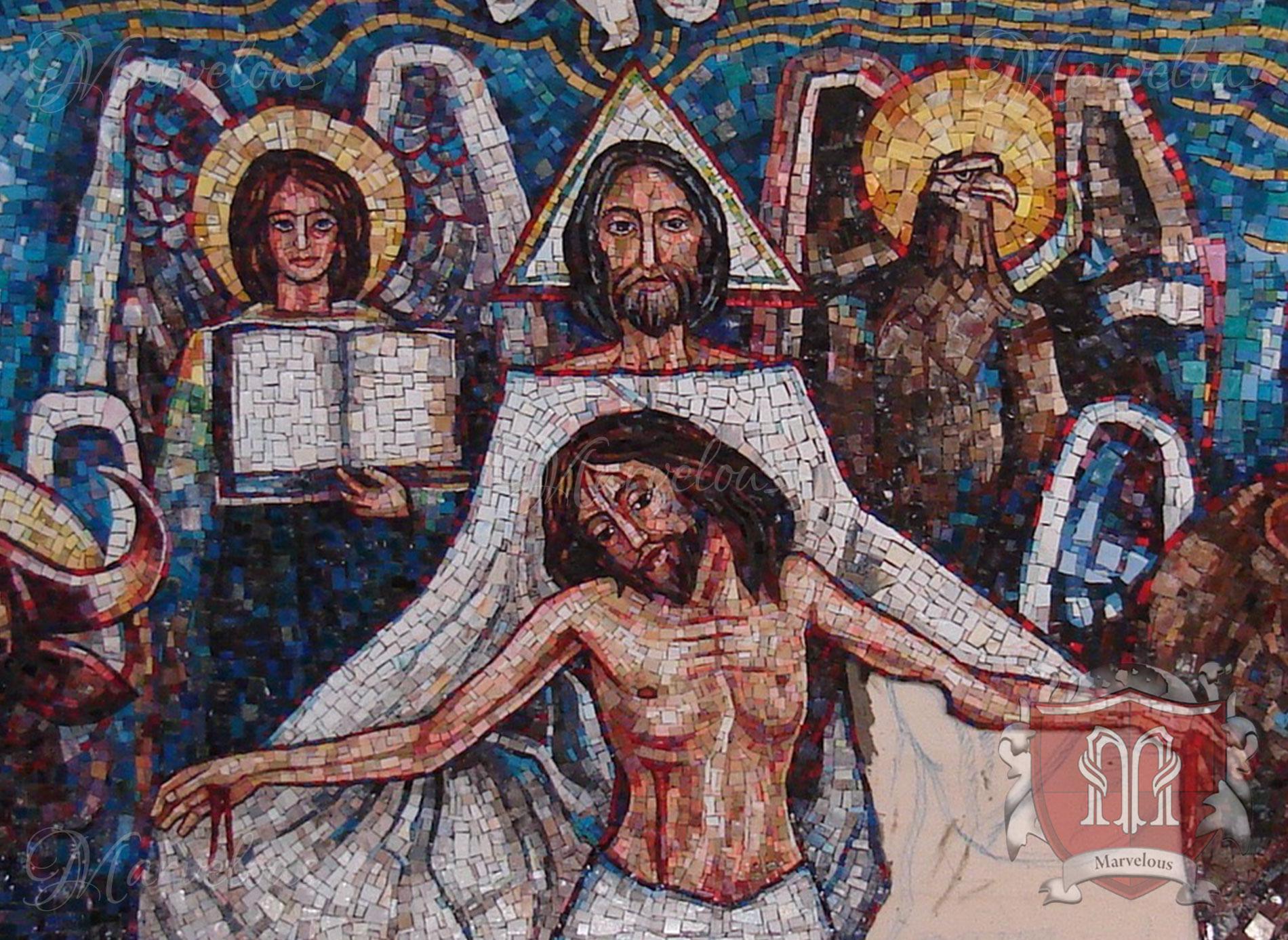 Marble Religious Mosaic: Il Pastore