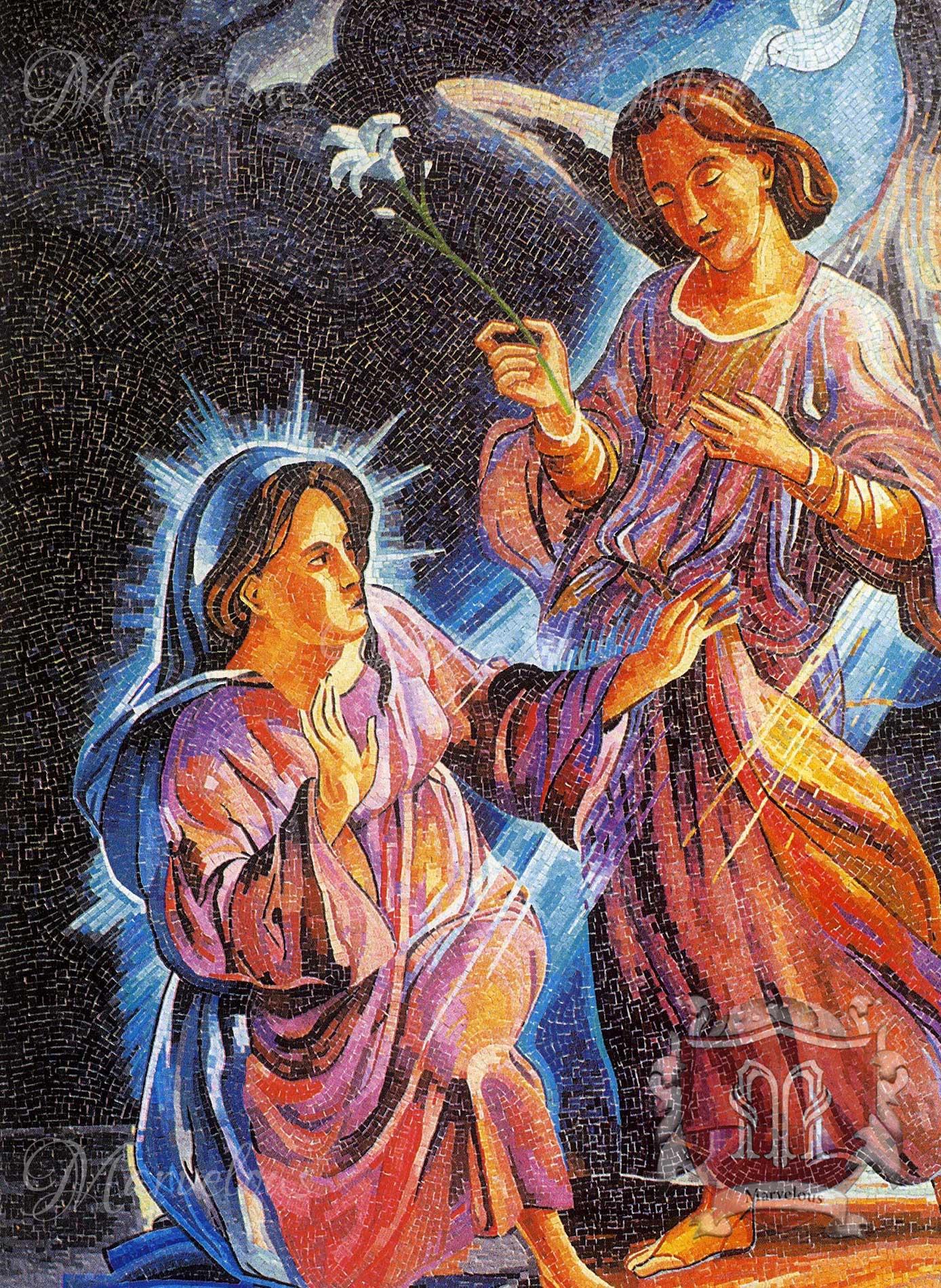 Marble Religious Mosaic: Storia Divina